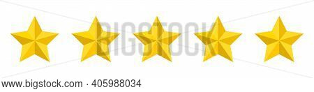 Five Stars Rating Icon. Five Stars Customer Product Rating. Vector Illustration. Premium Quality. Go