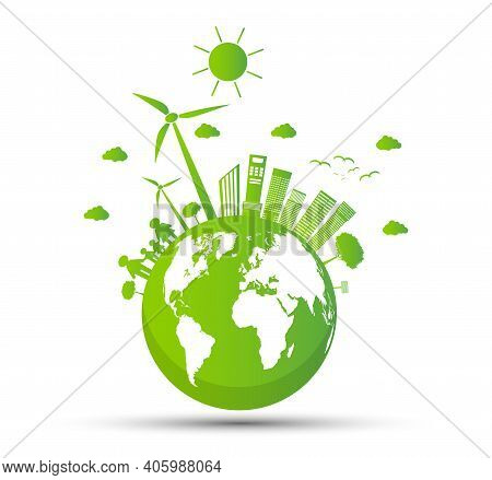 Ecology And Environmental Concept,earth Symbol With Green Leaves Around Cities Help The World With E