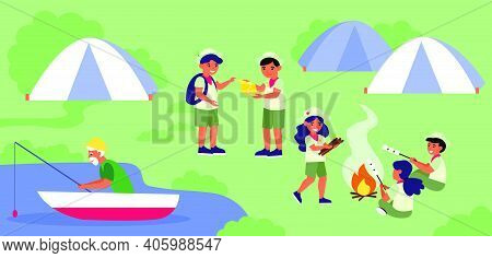 Scouts Camp At Lake Shore. Group Of Children, Boy Scouts, Landscape Flat Vector Illustration. Vacati