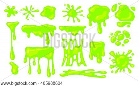 Slime Splashes Set. Green Blobs Of Mucus Or Goo. Flat Vector Illustration, Liquid Abstract Shapes Is