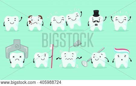 Teeth Care Set. Tooth Cartoon Character Suffering From Cavity. Sad Or Happy Shiny Teeth, Dentist Too