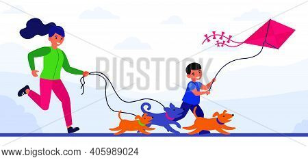 Woman Running After Dogs, And Her Son After Kite. Mother And Boy Jogging Outdoors Flat Vector Illust