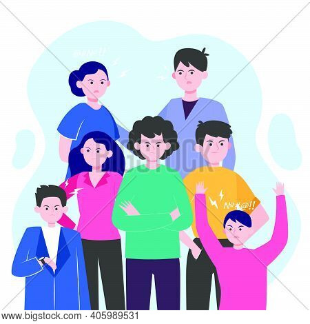 Angry People Brawling Isolated Flat Vector Illustration. Young Arrogant Men And Women Annoying. Comm