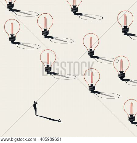 Business Creative Brainstorming Vector Concept. Man Looking At Lightbulbs. Symbol Of New Ideas.