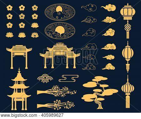 Asian Decorative Elements Set. Gold Lanterns, Japanese Sakura Blossoms And Tree Branches, Traditiona
