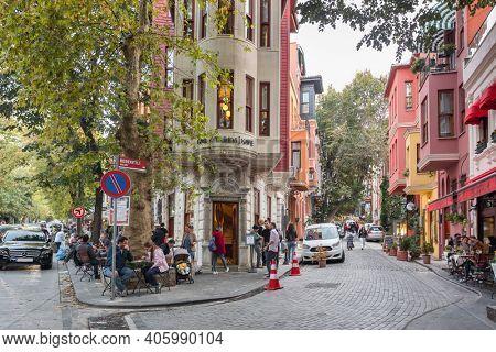 Istanbul, Turkey - October 12, 2019: Street scene in Kuzguncuk district in Istanbul. Historical colorful houses in Kuzguncuk neighborhood, Uskudar district in Istanbul, Turkey.