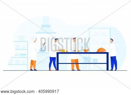 Chefs, Cooks And Waiters Working At Restaurant Kitchen Isolated Flat Vector Illustration. Cartoon Pr