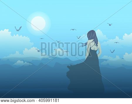 Black Skirt Woman Standing On The Hill Looking At The Mountain With Moon And Blue Sky Background.