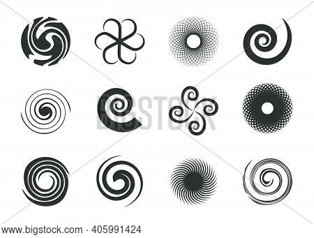 Circular Swirls Set. Twisted Spiral Circles, Black Various Whirlpool, Speed Twirls, Abstract Graphic