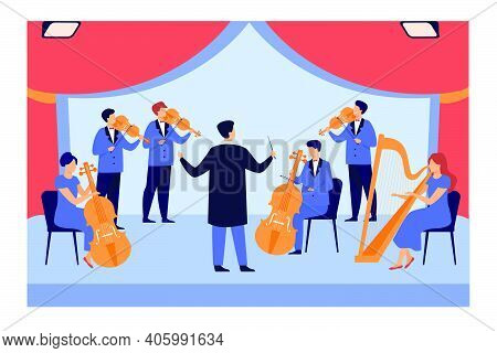 Conductor And Musicians Playing On Violin, Harp And Cello Isolated Flat Vector Illustration. Cartoon
