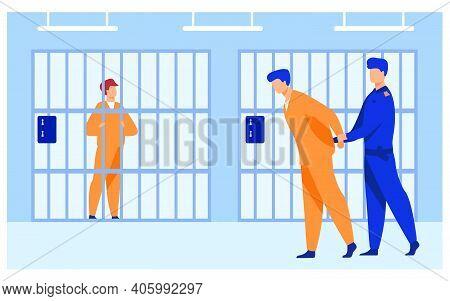 Criminals In Jail Concept. Guard Officer Escorting Prisoner To Prison Room. Vector Illustration For