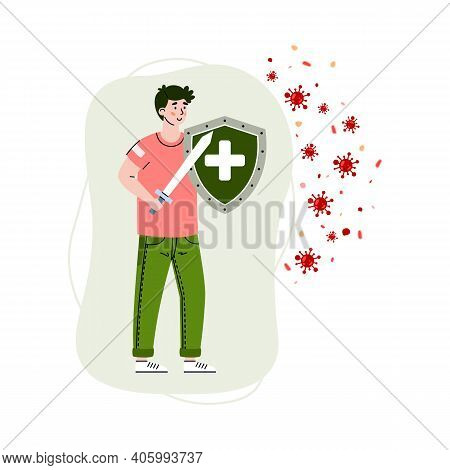 Man With Shield And Sword Reflecting Virus Attack, Cartoon Vector Illustration Isolated On White Bac
