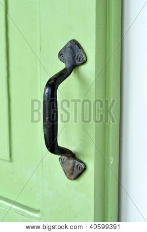 Handle Door Rust Green Old Retro