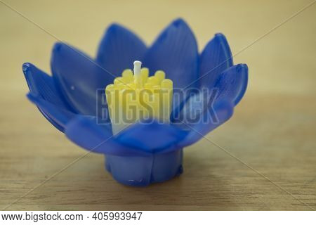 Blue Colour Krathong Made From Candle For Loy Krathong Festival In Thailand. People Bring Flowers, C
