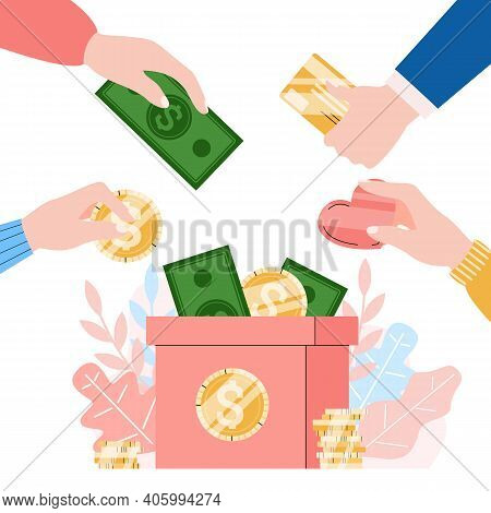 Charity, Donation And Volunteering Concept. Human Hands Puts Of Money And Coins In Donate Box. Socia