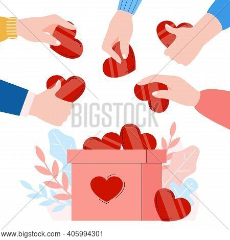 Donation Banner Or Poster With Hands Putting Hearts Into Donation Box, Flat Cartoon Vector Illustrat