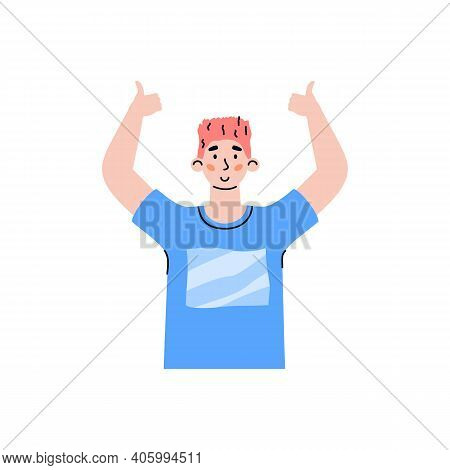 Positive Male Character Up Hands Gesturing Of Ok Sign. Cheerful Happy Guy Showing Of Gesture Thumb U