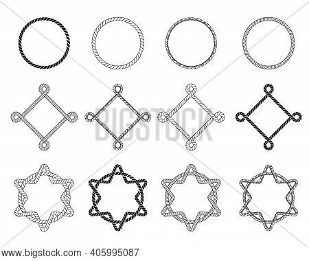 Different Rope Frames Flat Icon Set. Decorative Vintage Round And Square Cordage Knot Stamp Vector I