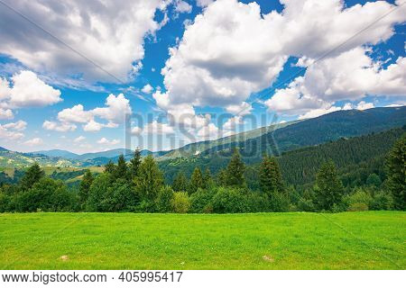 Rural Landscape In Carpathian Mountains. Summer Nature Scenery With Trees On The Meadow. Fluffy Clou