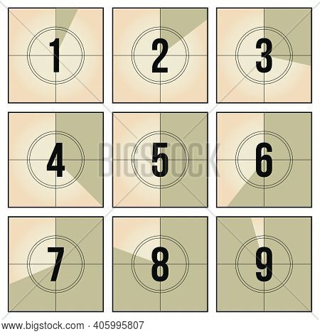 Vintage Film Frame Countdown Set. Retro Video Number Sequence And Counter Frames Vector Illustration