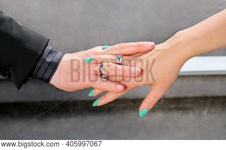 Wedding Concept. Wedding Couple Hands With A Wedding Rings. Happy Couple Day Wedding. Beautiful Brid