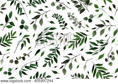 Seamless Pattern With Greenery Leaves Branch Twig Flora Plants For Floral Watercolor Wedding Card, W