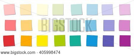 Sticky Notes, Rainbow Gradient Colored Square Notepads, Different Colors And Saturations. Isolated V