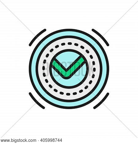 Tick, Check Mark, Ok Button, Yes, Verified, Approved Flat Color Line Icon.