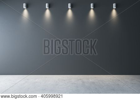 Gallery Interior With Ceiling Lamps And Blank Gray Wall. Gallery Concept. Mock Up, 3d Rendering