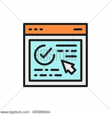 Authorization, Approved Web Page, Website With Check Mark Flat Color Line Icon.