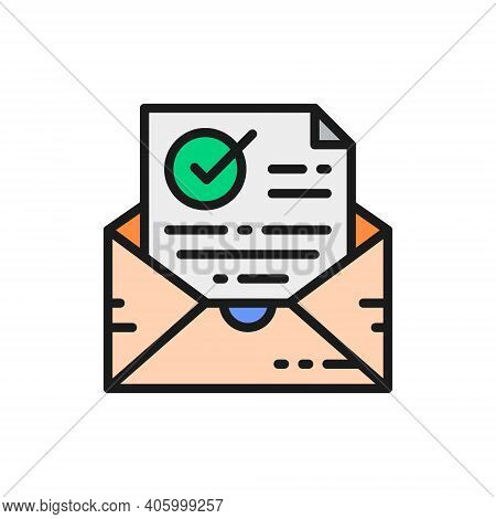 Confirmation Letter, Checked, Envelope With Check Mark Color Line Icon.