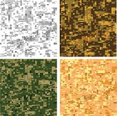 Set of camouflage digital pixel seamless patterns poster