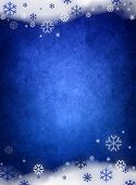 Ice blue christmas background with snow and snowflakes poster