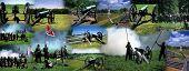 Montage - Civil War - Gettysburg Antietam Manssas battlefields and Civil War battle reenactment poster