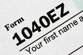 Extreme close up of a U.S. Tax Form 1040EZ. poster