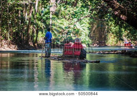 River Boat Tourists In Jamaica