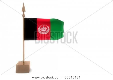 Afganistan flag on golden pole