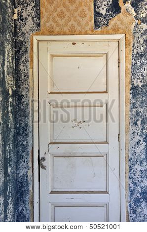 Shut Door In Abandoned House