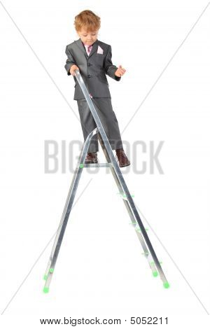 Boy In Suit On Step-ladder Top