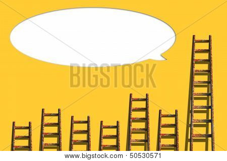 Speech Bubbles On Yellow Wall with Ladders