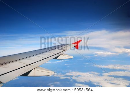 Wing Of The Plane On Sky Background