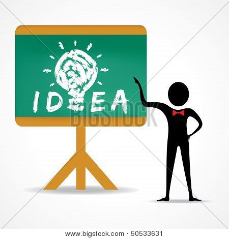 Man points to idea concept on green board