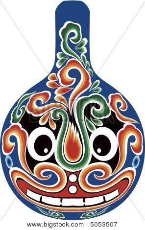 illustration drawing of Beijing opera mask on porcelain poster
