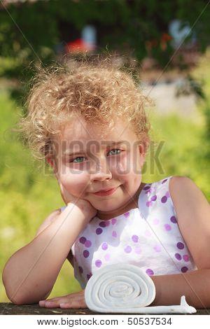Sympathetic little blond girl