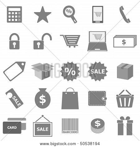 Shopping Icons On White Background
