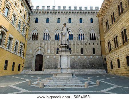 Monument To Sallustio Bandini In Piazza Salimbeni. Siena, Italy