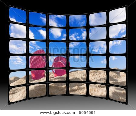 Landscape Scene Within A Digital Video Wall. Image Is My Own From My Gallery