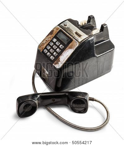 The Shabby Outdated Telephone Isolated in White Background poster