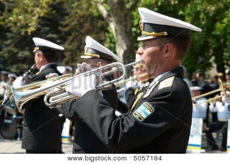 Navy Musicians At Russian Parade May 9, 2009 In Sevastopol, Ukraine.