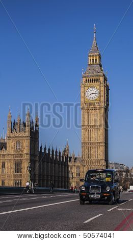 Big Ben with a taxi